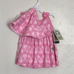 Gerber 3 Piece Girls Flamingo Dress Set Size 0-3M
